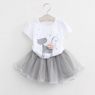 Cute Summer Kids Baby Girls T-Shirt Tops+Tutu Tulle Skirt Outfits Clothes Set