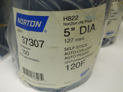"NORTON 66261137307 NORZON SANDING DISCS 5/"" DIA SELF STICK 120F NEW ROLL OF 100"