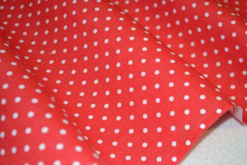 Rouge /& blanc match stick à pois imprimé poly tissu de coton par fat quater