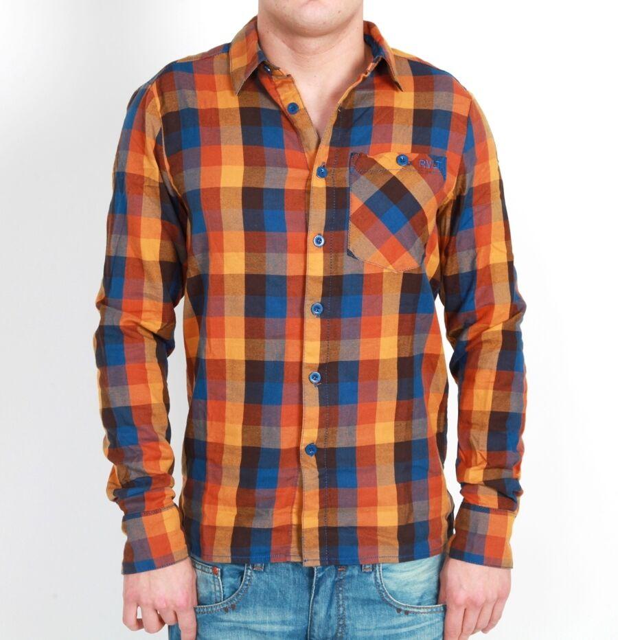 RVLT REVOLUTION Kirk shirt camicia arancione Marroneee manica lunga dayshirt checked a quadri