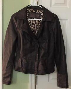 Ci-Sono-by-Cavalini-Women-039-s-Faux-Leather-Jacket-Size-L-EUC