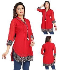 UK-STOCK-Women-Fashion-Indian-Short-Kurti-Tunic-Kurta-Top-Shirt-Dress-SC1030R
