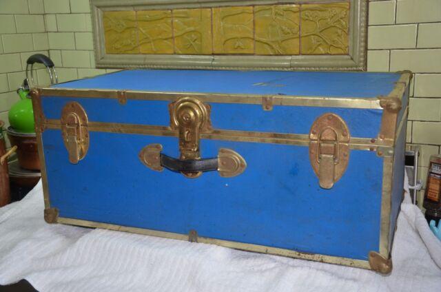 Vintage Luggage Footlocker Trunk  Storage Travel Trip Dorm Suitcase Locker Blue