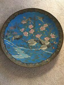 "Antique 1885 Japanese Large 19"" Cloisonné Charger-8 Cranes/pink flowers/stream"
