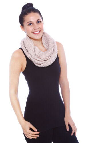 Women/'s Winter Warm Infinity 2 Circle Cable Knit Cowl Neck Long Scarf Shawl