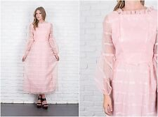 Vintage 60s 70s Pink Mod Dress Sheer Slv Striped Bow Ruffle Maxi Small S