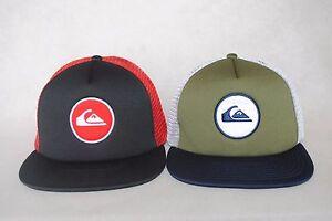 3e09f686 New Quiksilver Men's Snapstearn Trucker Hat Mesh Flat Brim Snapback ...
