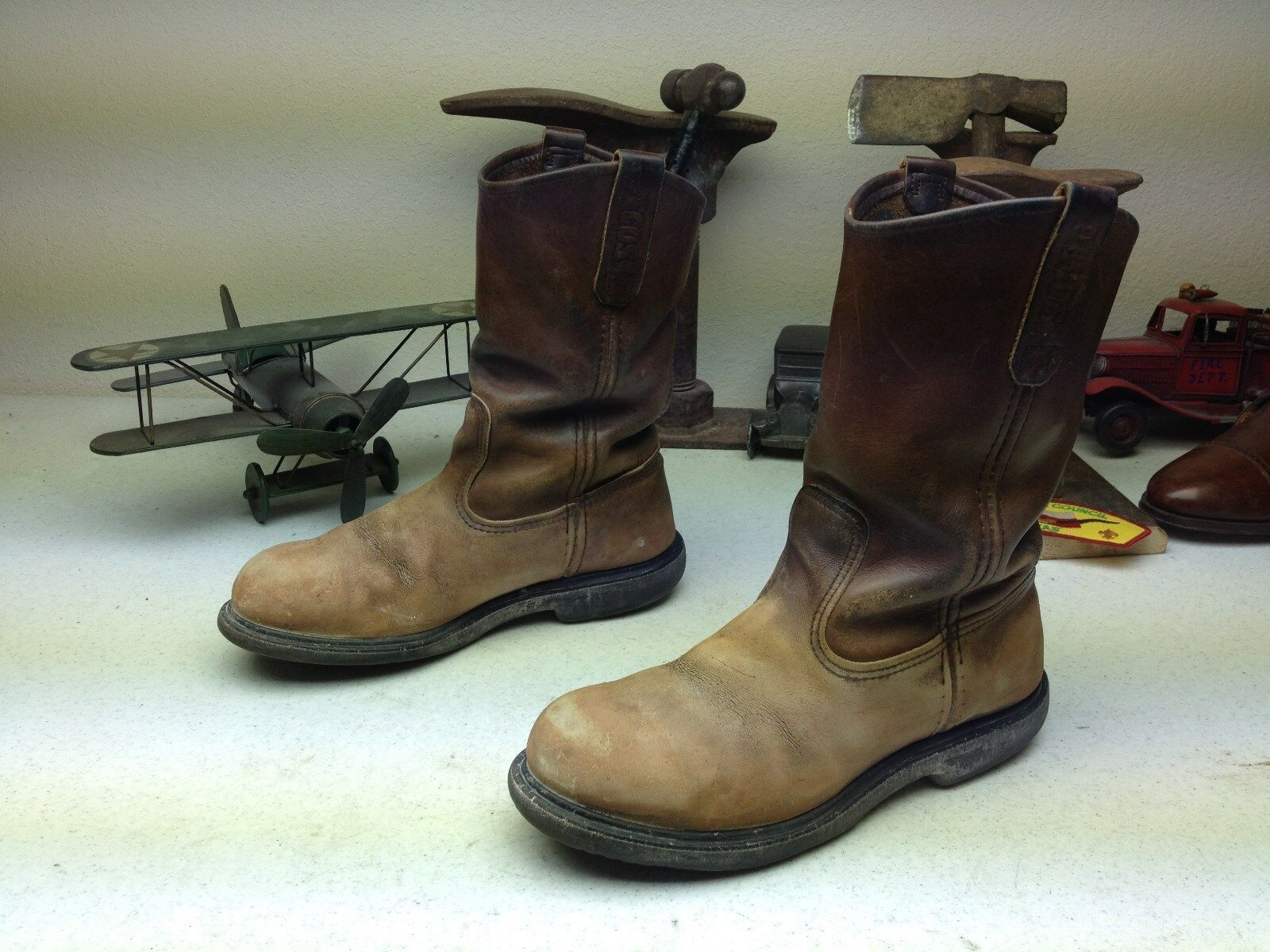 DISTRESSED rojo WING MADE IN USA marrón LEATHER STEEL TOE PECOS WORK botas 6.5 E