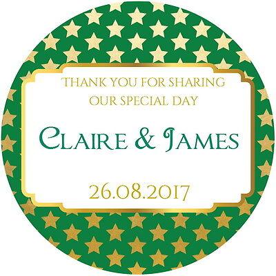 Green & Gold Gloss Matrimonio, Favore Grazie Etichette, Personalizzato Con Qualsiasi Testo-mostra Il Titolo Originale Ulteriori Sorprese