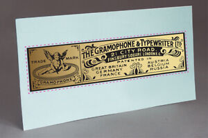 PRE CUT GRAMOPHONE & TYPEWRITER FOR PHONOGRAPH CASE, GOLD  WATER SLIDE DECAL