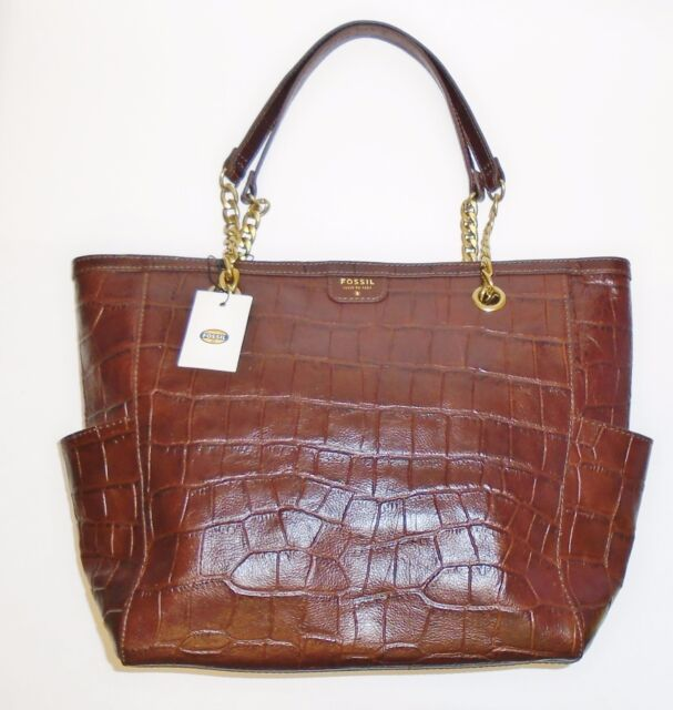 Fossil Mimi Croc Embossed Leather Chain Per Tote Dark Brown Shb1118201