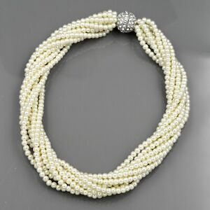 4222c63e678a5 Details about Glass Pearl Multi Layered Strand Bead Chunky Necklace 793  String Crystal Clasp R