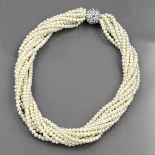 Verre Perle Multi Couches Strand Perle Gros Collier 793 Corde Cristal Fermoire R
