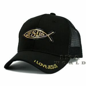 JESUS-FISH-Christian-hat-Gold-Patched-Pique-Mesh-Snapback-Baseball-cap-Black