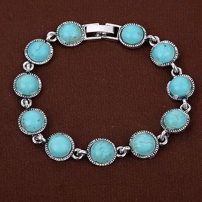 Round Turquoise bead Tibetan Silver Bracelet party wristband Bangle xmas Gift