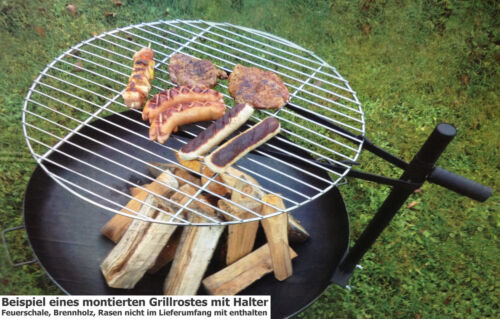 Grillrost 40cm oder 60cm mit Halterung für Feuerschale Feuerkorb Grill Klemme