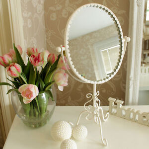 Cream oval metal vanity mirror shabby french chic home gift ...