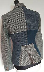 Hobbs 100% Lana Tweed Nero & Bianco Color Foglia Di Tè Controllo Giacca Cappotto Blazer Taglia 12