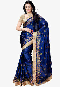 Royal Blue Designer Saree Ethnic Indian Pakistani Bollywood Mariage Sari