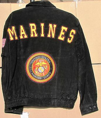 Black Suede Coach Jacket - USMC US Marines Corps  - NEW - Size M - FREE Shipping