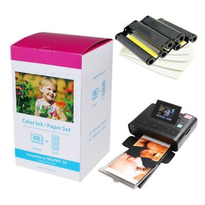 """US STOCK KP-108IN Color Ink Paper Set 4/""""x6/"""" for Canon Selphy CP770 CP1000 CP1200"""
