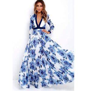 918a320d3f9 Plus Size Women Long Maxi Party Dress Ladies Long Sleeve Boho Summer ...