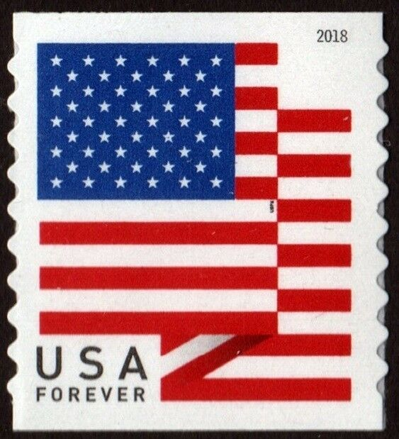 2018 50c American Flag, Red, White & Blue, Coil Single