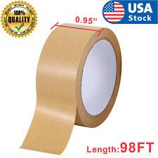 98ft Paper Kraft Shipping Packing Box Carton Sealing Roll Tape Writable Brown
