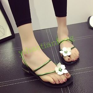 9f82ac26a1cd7e Womens Flower Flip Flop Slippers Slip On Casual Shoes Open Toe Flat ...
