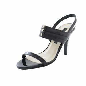 Gianfranco Ferre Black Leather Pumps Heels Open Toe Sandals Shoes 6 6.5 7 7.5 9