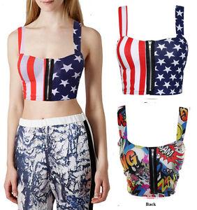 Womens-Ladies-American-Flag-Comic-Bang-Print-Zip-Front-Bra-Crop-Bralet-Top-8-14