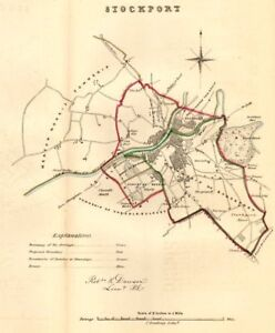 STOCKPORT boroughtown plan REFORM ACT Cheshire DAWSON 1832 old