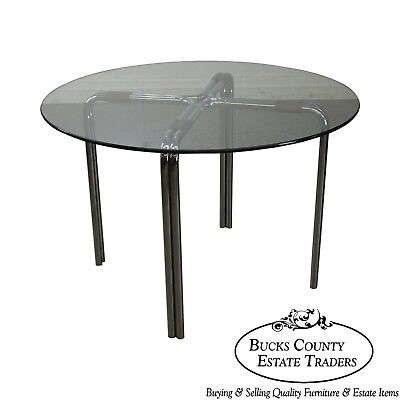 Mid Century Modern Chrome And Round Gl Cafe Table After Mies Van Der Rohe Ebay