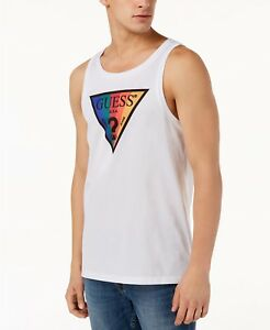 9619cd9a719c5d  99 GUESS Men s WHITE RED BLUE BLACK LOGO GRAPHIC SLEEVELESS TANK ...