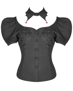 Punk-Rave-Womens-Gothic-Blouse-Top-Collar-Black-Red-Lace-Vampire-Short-Sleeve