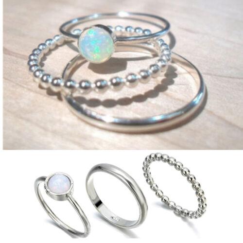 3Pcs mousseux Argent 925 Opale de Feu gemme Ring Set de Mariage Bijoux Cadeaux 7-10