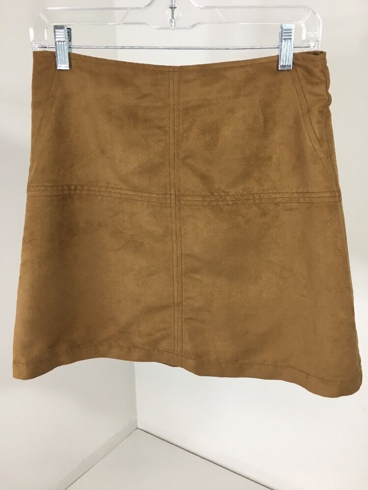 SANCTUARY WOMEN'S FAUX SUEDE A-LINE MINI SHIRT TAN XS NWT