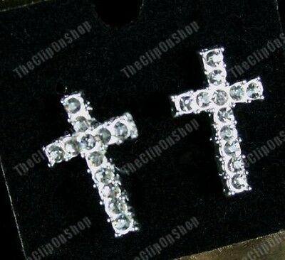 CLIP ON rhinestone CRYSTAL CROSS diamante fake stud EARRINGS silver plated