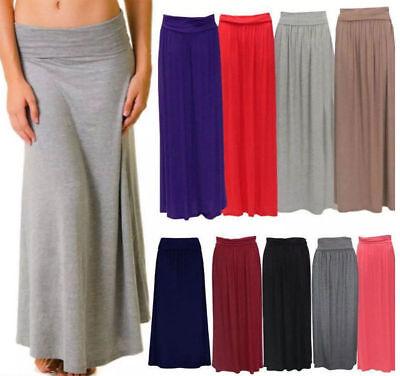 New Ladies Flared Jersey Fold Over Turn Up Waist Long Maxi Skirt Dress 8-14