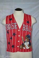 BaseBall Home Run Ugly Knitted Sweater Vest Size Medium PBJ Sport Cotton Blend