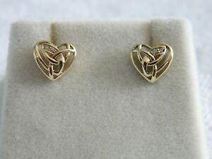 6a4b3b6af9566 Clogau 9ct Welsh Gold Eternal Love Diamond Heart Stud Earrings RRP ...