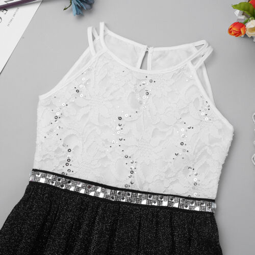 Kids Girls Floral Lace Rhinestone Romper Dress Pageant Birthday Wedding Party