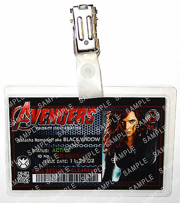 Marvel Avengers ID Badge Black Widow Superhero Cosplay Costume Prop Comic Con