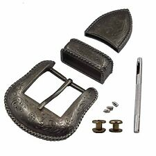 "TOME 1-1/2"" Western Antique Silver Engraved Mens Belt Buckle Set Fashion Cowboy"