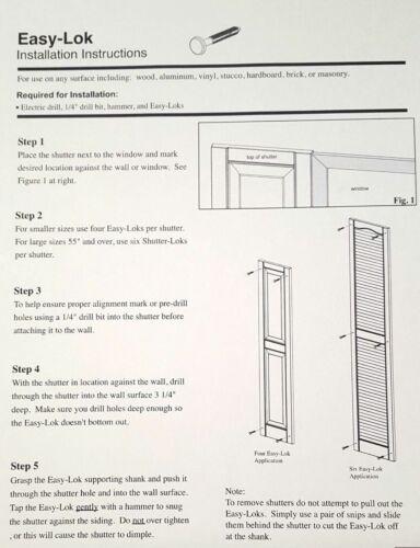 "Tuxedo Grey 48 Pack Window Shutters Panel Peg Loks 3/"" Shutter Fasteners Spikes"