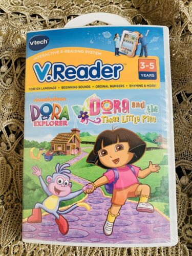 VTECH V.READER INTERACTIVE E-READING SYSTEM GAME DORA and THE 3 LITTLE PIGS