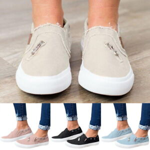 US-Women-039-s-Lady-Denim-Canvas-Loafers-Pumps-Casual-Slip-On-Flat-Sneakers-Shoes-12