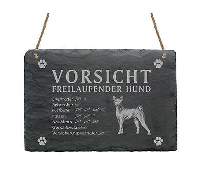 Schiefertafel « Basenji - Vorsicht - Freilaufender Hund » Schild Garten Hunde Stabile Konstruktion
