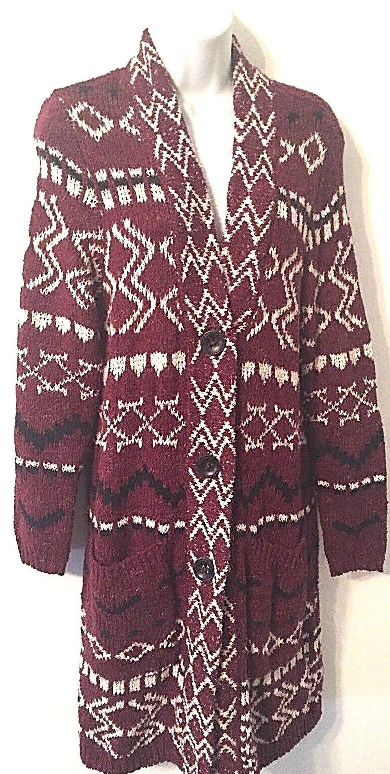 J. Jill Long Sweater Cardigan Cotton Maroon Navy Print Topper Small (A3)