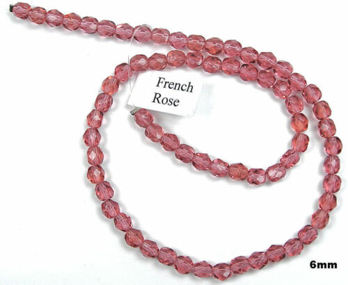Czech Fire Polished Round Faceted Beads in French Rose color
